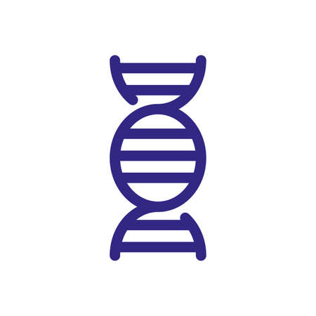 dna chain icon over white background, thick line style, vector illustration