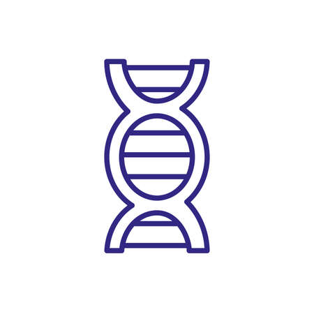 dna chain icon over white background, line detail style, vector illustration