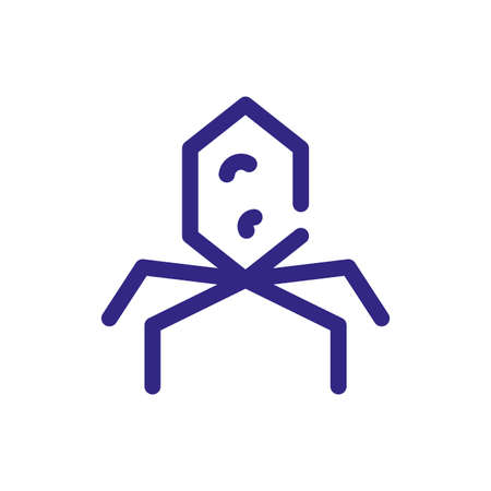 bacteriophage icon over white background, thick line style, vector illustration