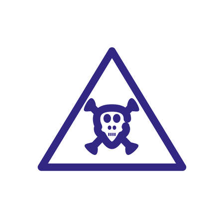 toxic hazard icon over white background, thick line style, vector illustration