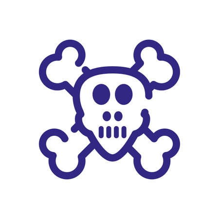 toxic skull icon over white background, thick line style, vector illustration