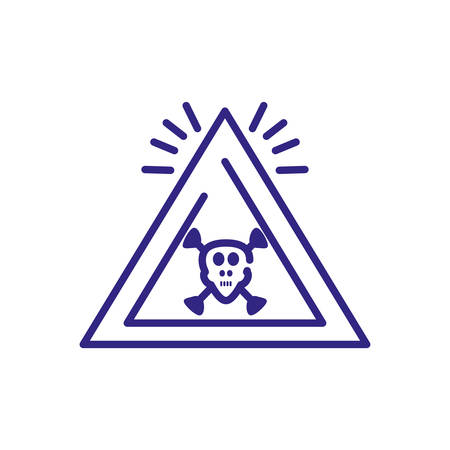 toxic hazard icon over white background, line detail style, vector illustration Иллюстрация