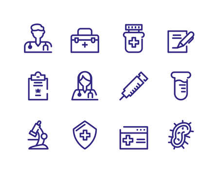 medicine and medical utensils icon set over white background, thick line style, vector illustration