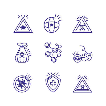 chemical and virus icon set over white background, line detail style vector illustration