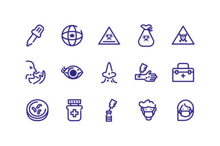 icons set of virus and sickness concept over white background, thick line style, vector illustration Stock Illustratie