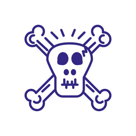 toxic skull icon over white background, line detail style, vector illustration Иллюстрация