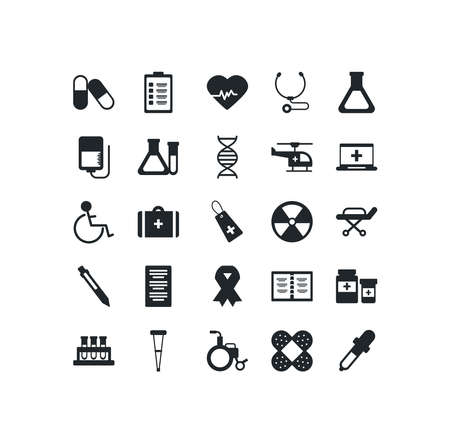 set of icons instruments medical, silhouette style icon vector illustration design