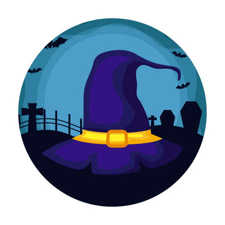 hat of witch over halloween background, vector illustration Çizim