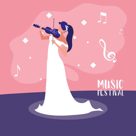 music festival poster with woman playing fiddle vector illustration design Ilustrace