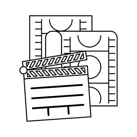 clapboard cinema with tape isolated icon vector illustration design