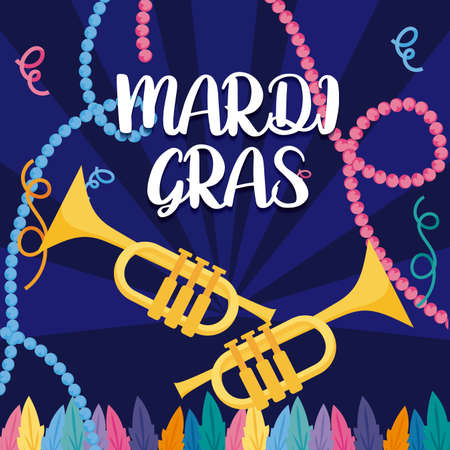 Mardi gras trumpets with necklaces design, Party carnival decoration celebration festival holiday fun new orleans and traditional theme Vector illustration Ilustração