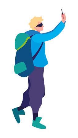 man with backpack hiking traveler vector illustration