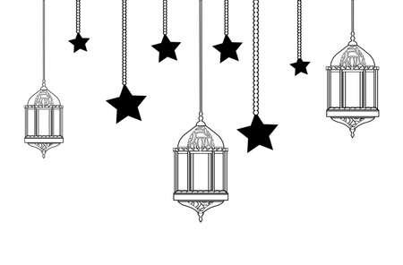 ramadan kareem lamp with moon hanging vector illustration design Reklamní fotografie - 140556203