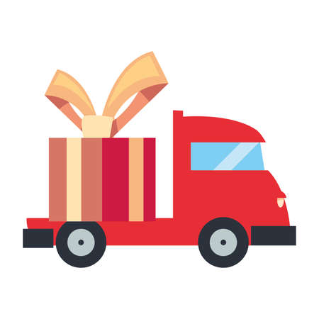 truck gift box fast delivery logistic vector illustration