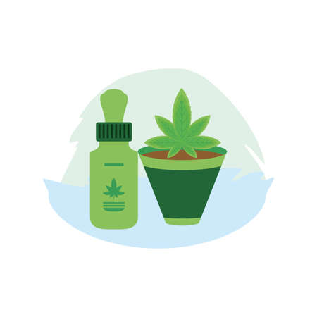 cannabis bottle product dropper with houseplant vector illustration design