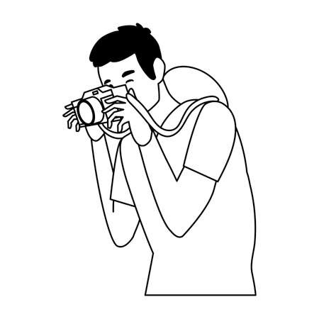 Man with camera design, Device gadget technology photography equipment digital and photo theme Vector illustration 向量圖像