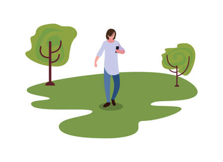 young man using smartphone outdoor trees natural vector illustration Ilustrace