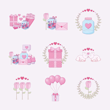Icon set design of Love happy valentines day wedding passion romantic decoration and marriage theme Vector illustration
