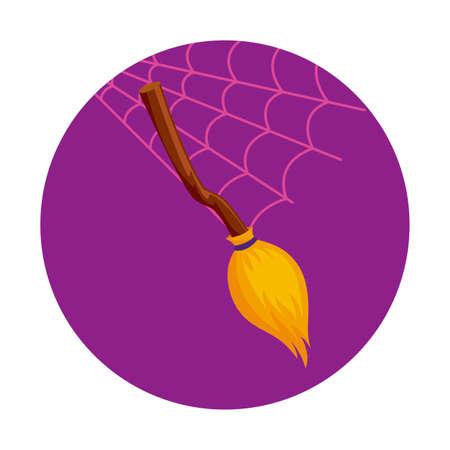 broom witch halloween icon over spiderweb background, vector illustration