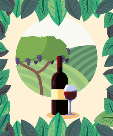 Wine bottle and cup in front of grapes tree design, Winery alcohol drink beverage restaurant and celebration theme Vector illustration