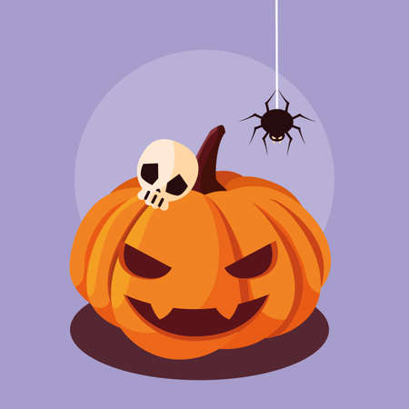 halloween pumpkin with spider and skull vector illustration design