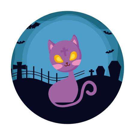 cat of halloween over cemetery vector illustration
