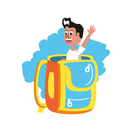 cute little student boy in school bag vector illustration design
