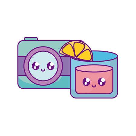 photographic camera with cocktail kawaii vector illustration design 向量圖像