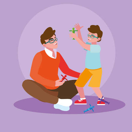 Father with son playing design, Family activities relationship generation lifestyle and people theme Vector illustration