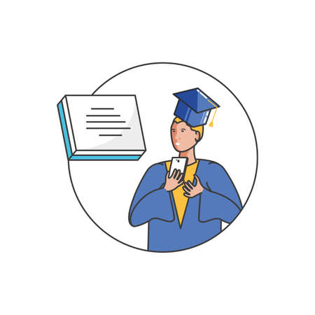 young boy student graduated with smartphone vector illustration design