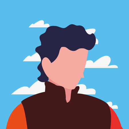 man character tourist in the outdoors vector illustration