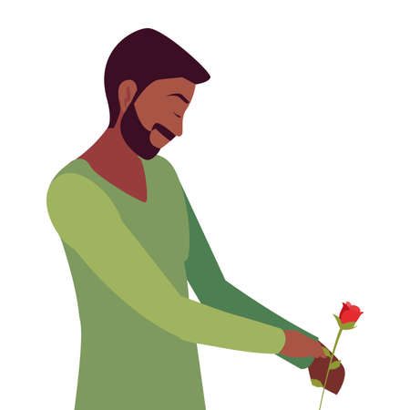 man holding flower rose romantic vector illustration Ilustracja