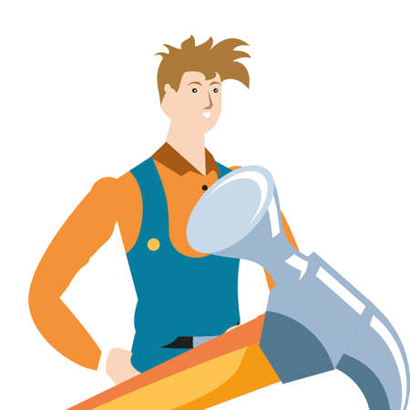young firefighter worker with hammer avatar character vector illustration design