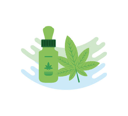 cannabis bottle product dropper icon vector illustration design