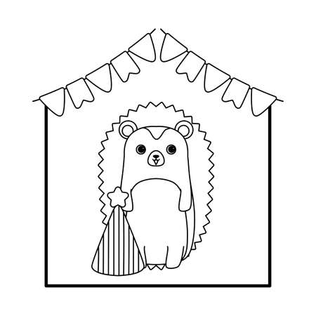 cute porcupine animal with hat party and garlands vector illustration design