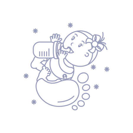 cute baby girl with bottle milk and footprint vector illustration design