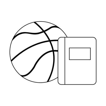 textbook school with basketball balloon vector illustration design