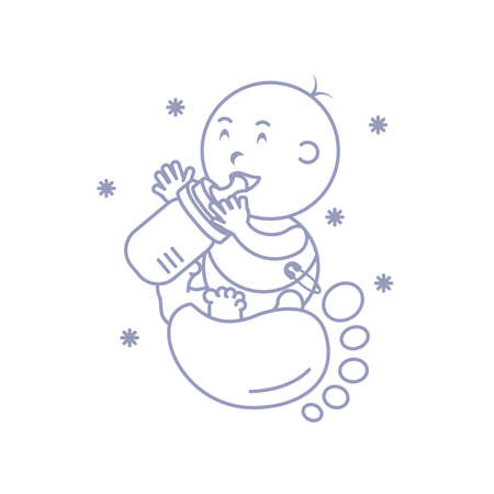 cute baby boy with bottle milk and footprint vector illustration design Ilustrace