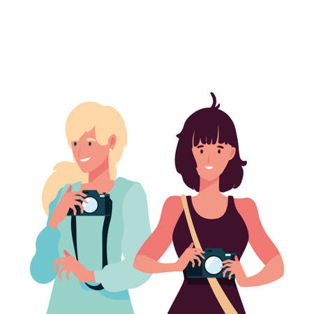 Women with camera design, Device gadget technology photography equipment digital and photo theme Vector illustration 向量圖像