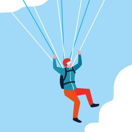 man skydiver in air avatar character vector illustration design