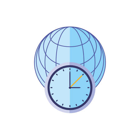 time clock watch with browser isolated icon vector illustration design