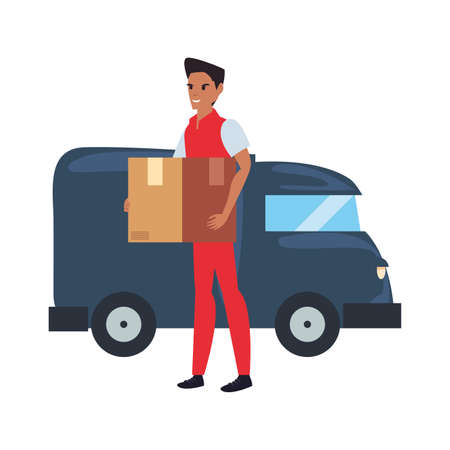 man loading box in delivery truck logistic vector illustration  イラスト・ベクター素材