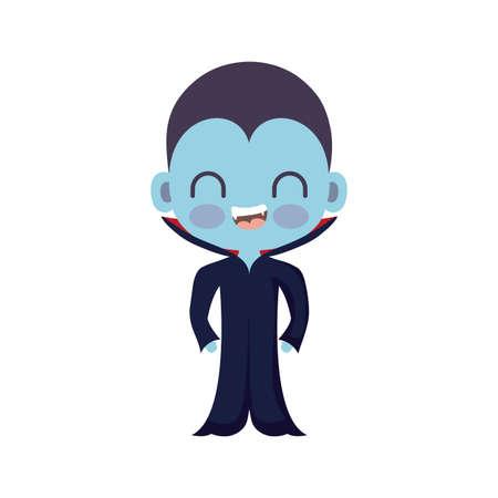 cute boy disguised of vampire on white background vector illustration design Иллюстрация
