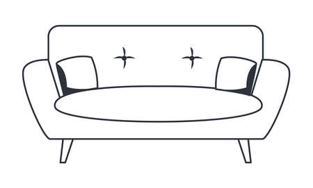 sofa with cushions on white background vector illustration