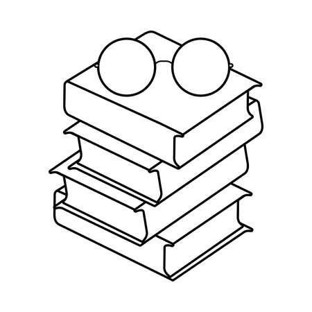 pile of textbooks with eyeglasses vector illustration design