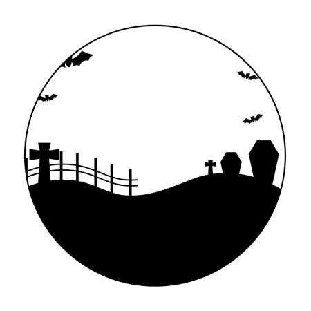 bats flying in scene halloween vector illustration