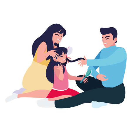 parents couple with little daughter playing characters vector illustration design Stock Illustratie