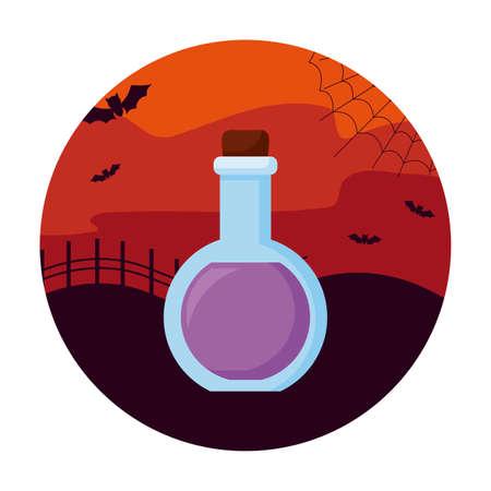 potion magic of halloween with bats flying vector illustration Иллюстрация