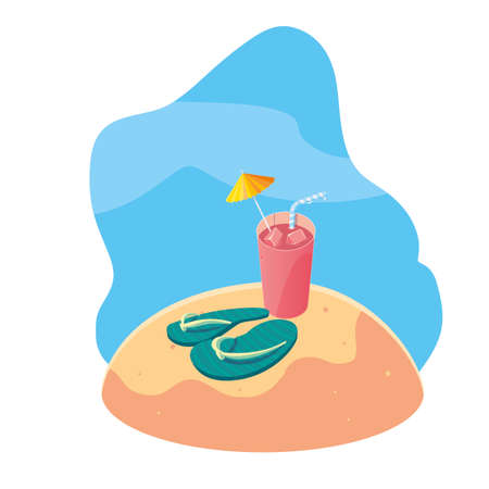 summer sand beach with cocktail icons scene vector illustration design