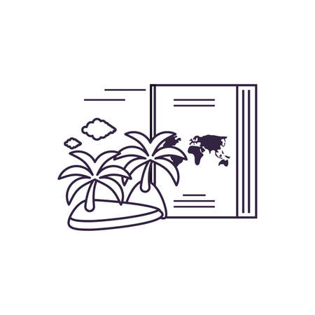 island beach with passport document vector illustration design